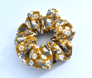 Mustard Yellow Floral Liberty print Scrunchie-Hair accessory-Tot Knots of Brighton