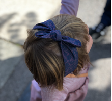 Kids Tot Knot Tie hairband - Liberty of London Navy and Lilac Silhouette print
