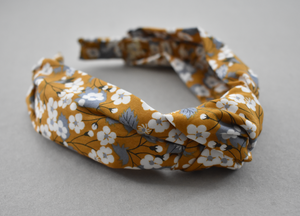 Kids Tot Knot Alice band - Liberty of London yellow mustard floral print-Children hairband-Tot Knots of Brighton
