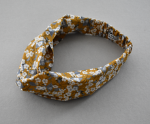 Kids Tot Knot Twisted hairband - Liberty of London Mustard floral print