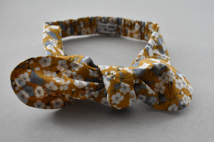 Kids Tot Knot Tie hairband - Liberty of London Yellow Mustard Floral print