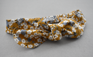 Kids Tot Knot Tie hairband - Liberty of London Yellow Mustard Floral print-Children hairband-Tot Knots of Brighton