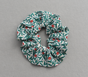Red, White and Green Juniper Berry Liberty print Scrunchie-Hair accessory-Tot Knots of Brighton