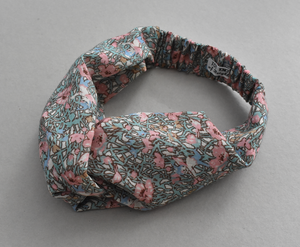 Ladies Twisted Turban hairband in Winter Pink Fairies Vintage Liberty of London Varuna wool fabric-Adult hairband-Tot Knots of Brighton