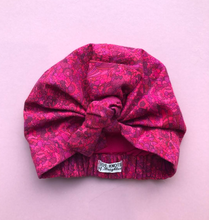 Ladies Turban Hat - Bright Pink graphic Liberty of London print in Lantana fabric-Adult Turban Hat-Tot Knots of Brighton