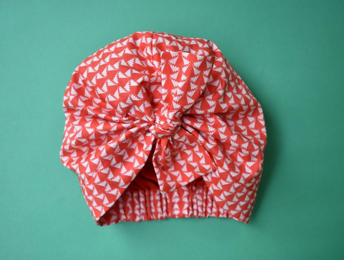 Little Land Girl Baby Hat - Liberty of London Red and White Jonathan print-Baby Turban Hat-Tot Knots of Brighton