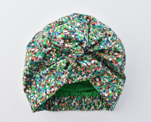 Ladies Cotton & Silk Turban Hat - Liberty of London in Green Spotty Reflections