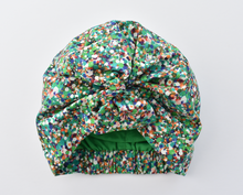 Ladies Cotton & Silk Turban Hat - Liberty of London in Green Spotty Reflections-Adult Turban Hat-Tot Knots of Brighton