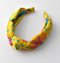 Luxury Silk Knot Alice band - Liberty Artist Print silk in Yellow-Adult hairband-Tot Knots of Brighton
