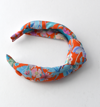 Luxury Silk Knot Alice band - Liberty Artist Print silk in Red & Pink Floral crepe-Adult hairband-Tot Knots of Brighton