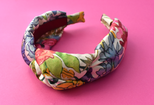 Luxury Silk Knot Alice band -  Liberty of London Artist Anas Garden silk satin