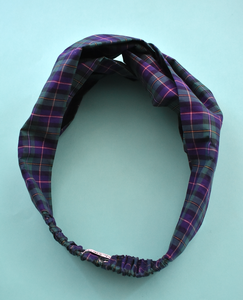 Ladies Twisted Turban hairband and neck scarf in Liberty of London Navy, Purple & Green Tartan