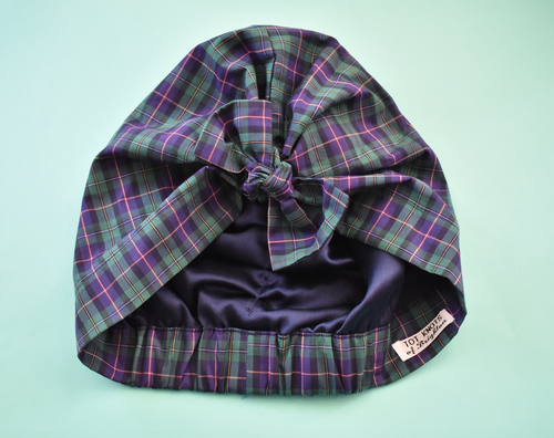 Little Land Girl Baby Hat - Liberty of London Purple & Green Tartan