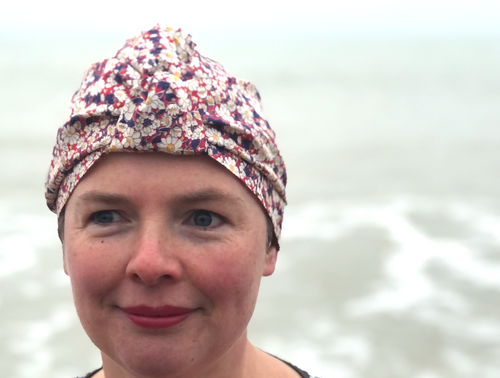 Salty Sea Knot - Swimming Cap Topper - Swim Turban - Vintage Liberty Daisy