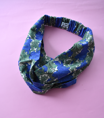 Ladies Twisted Turban Headband - Liberty of London Blue Anemone
