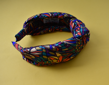 Luxury Silk Knot Alice band - Liberty of London Artist Bright Jewel graphic printed silk