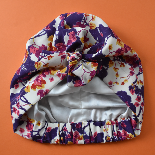Luxury 100% pure silk Turban & Head wrap - Liberty of London Ombrellino Japanese blossom printed silk