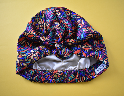Luxury Turban & Head wrap - Pure silk - Liberty of London Artist Bright Jewel - graphic printed silk