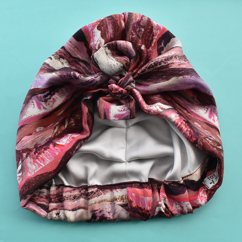 Luxury 100% pure silk Turban & Head wrap - Liberty of London Artist Manning pink printed silk