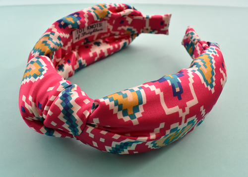 Luxury Silk Knot Alice band - Liberty of London Artist Tapestry Hearts Silk Satin