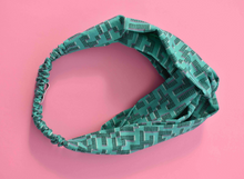 Tot Knot Twisted hairband - Graphic Turquoise Jade - Tot Knots of Brighton