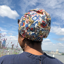 Ladies Turban Hat - Merchant Liberty print in Multicolour graphic - Tot Knots of Brighton