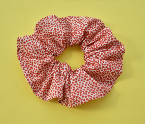 Red and White Floral Scrunchie - Tot Knots of Brighton