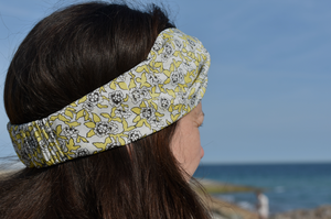Twisted Turban hairband and neck scarf - Yellow, White and Black Liberty of London Dynasty Floral - Tot Knots of Brighton