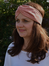 Red and White Floral Twisted Turban hairband and neck scarf - Tot Knots of Brighton