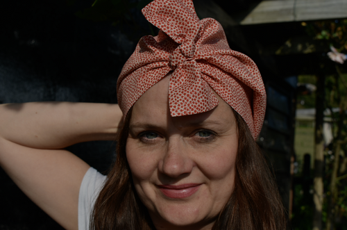 Ladies Turban Hat - Red and White Liberty of London Floral - Tot Knots of Brighton