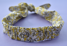 Tot Knot hairband - Liberty of London Yellow, White and Black Dynasty Floral - Tot Knots of Brighton