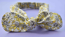 Ladies Tot Knot hairband- Yellow, Black and White Liberty of London Dynasty floral - Tot Knots of Brighton