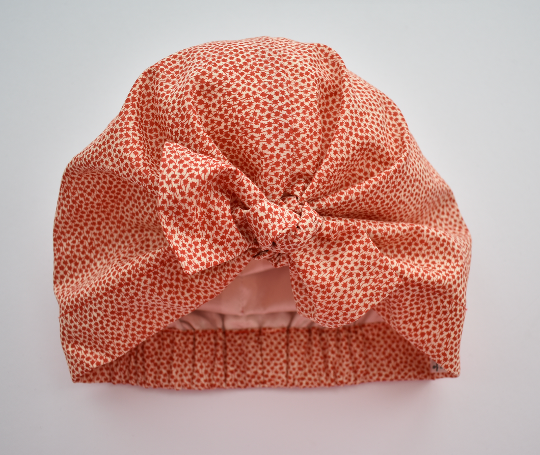 Little Land Girl Baby Hat - Liberty of London Red and White Ditsy Floral - Tot Knots of Brighton