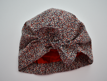 Little Land Girl Baby Hat - Liberty of London Red, White and Blue Pepper - Tot Knots of Brighton