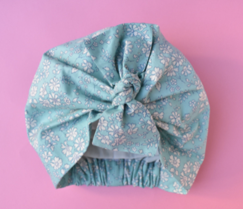 Little Land Girl Baby Hat - Liberty of London Aqua Blue and White Floral- Limited Edition - Tot Knots of Brighton