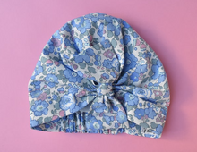 Ladies Turban Hat - Pink and Blue Liberty of London Betsy Floral print - Tot Knots of Brighton