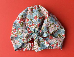 Ladies Turban Hat - Liberty of London Poppy and Daisy Floral - Tot Knots of Brighton