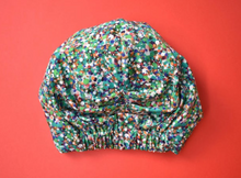 Ladies Turban Hat - Liberty of London Green Reflections Spotty - Tot Knots of Brighton