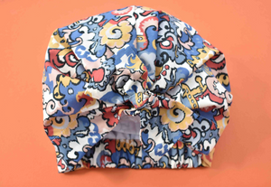 100% silk lined Turban & Head wrap in Blue and Pink Liberty of London Merchant print - Tot Knots of Brighton