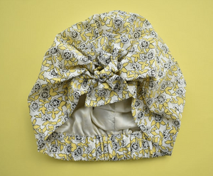 Little Land Girl Baby Hat - Yellow and Black Floral Dinisty Liberty of London print - Tot Knots of Brighton