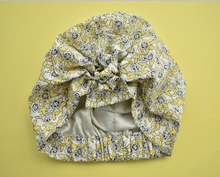 Ladies Turban Hat - Liberty of London Yellow and Black Floral Dinisty - Tot Knots of Brighton