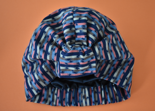 Ladies Turban Hat - Navy Blue and Pink Graphic Stripe Liberty of London print - Tot Knots of Brighton