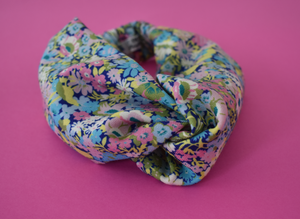 Kids Tot Knot Twisted hairband - Bright Pink & Aqua Thorpe Liberty of London print - Tot Knots of Brighton