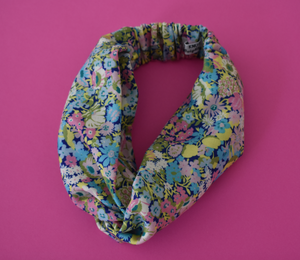 Kids Tot Knot Twisted hairband- Bright Pink & Aqua Thorpe Liberty of London print - Tot Knots of Brighton