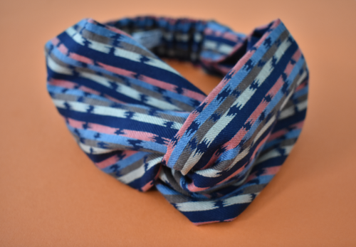 Navy Blue and Pink Graphic Stripe Twisted Turban hairband and neck scarf in Liberty of London - Tot Knots of Brighton