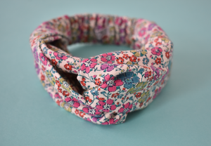 Pink and Aqua Floral Liberty of London Twisted Turban hairband and neck scarf - Tot Knots of Brighton