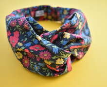 Winter Poppy and Daisy Liberty of London Twisted Turban hairband and neck scarf - Tot Knots of Brighton