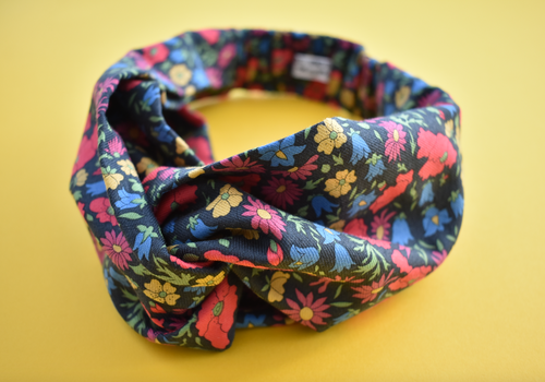Kids Tot Knot Twisted hairband - Winter Poppy & Daisy Liberty of London print - Tot Knots of Brighton
