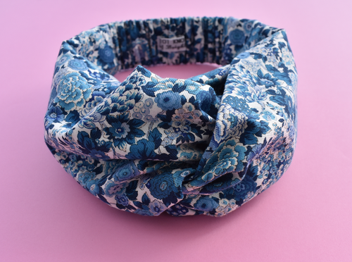Kids Tot Knot Twisted hairband - Chine Blue and White Floral Liberty of London print - Tot Knots of Brighton