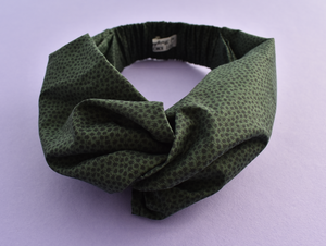 Twisted Turban hairband and neck scarf - Liberty of London Green and Black Marco Floral - Tot Knots of Brighton